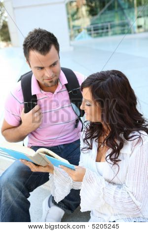 Students At College Studying