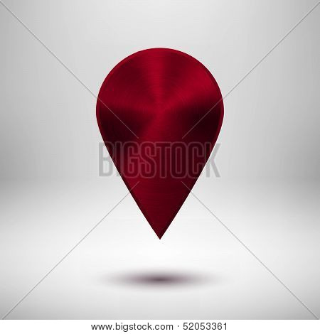 Technology Map Pointer Button with Maroon Metal Texture