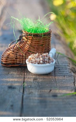 Wicker Toy Clog And Boiled Buckwheat