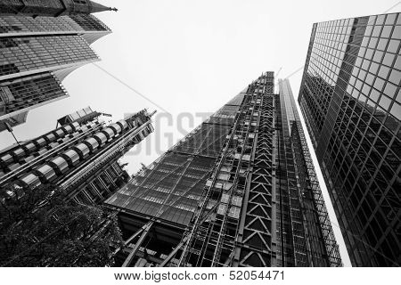 London - September 21: Leadenhall Building In Construction Center With Lloyds Building