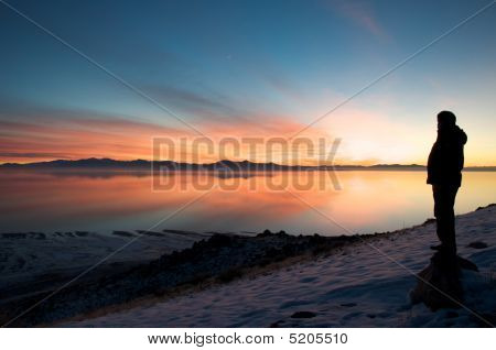 Lake Sunset In Winter