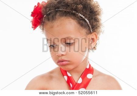 Portrait Of A Little Girl Mulatto, It Is Sad.