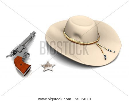 Sheriff's Hat, Sheriff's Star And A Gun.