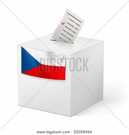 Ballot box with voicing paper. Czech Republic.