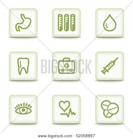 Medicine web icons set 1, white glossy buttons