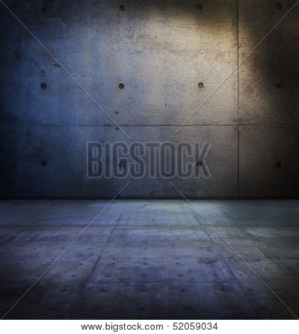 Concrete room with lighting.
