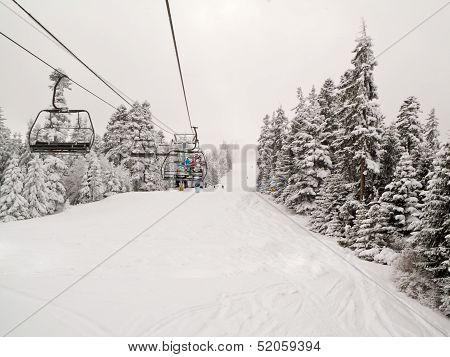 Ski Slope And Chair Ski Lift In Borovets, Bulgaria