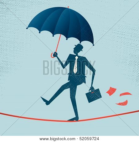 Abstract Businessman walks a precarious tightrope.