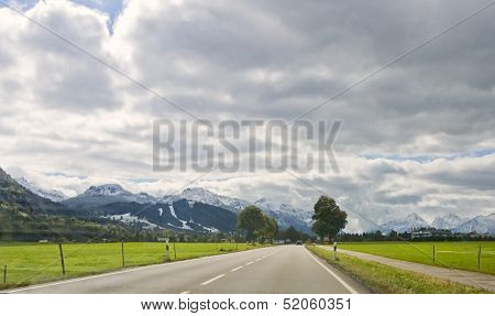 View To The Road And Mountain Landscape