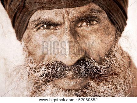 Sikh Man In Amritsar, India.