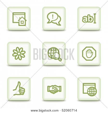 Internet web icons set 1, white glossy buttons