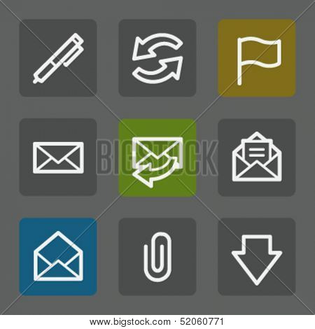 E-mail web icons, flat buttons