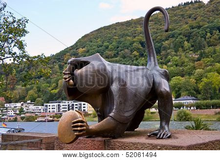 The Heidelberg Bridge Monkey Sculpture