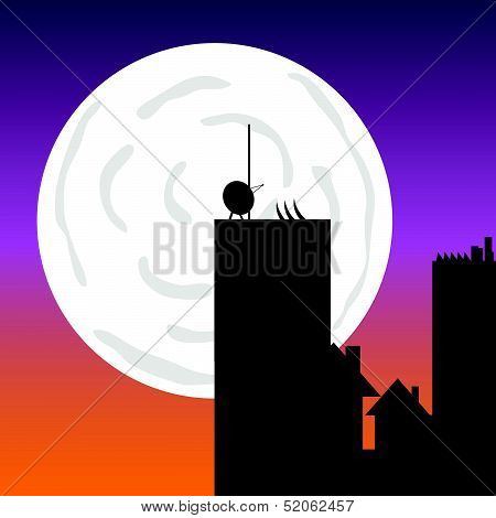 Buildings In The Moonlight Vector Art Color Illustration