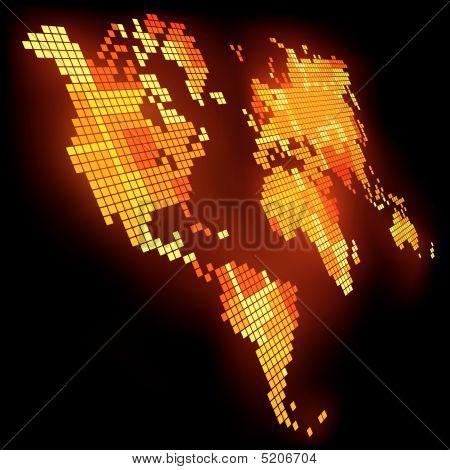 Mapa do mundo de pixels de brilho