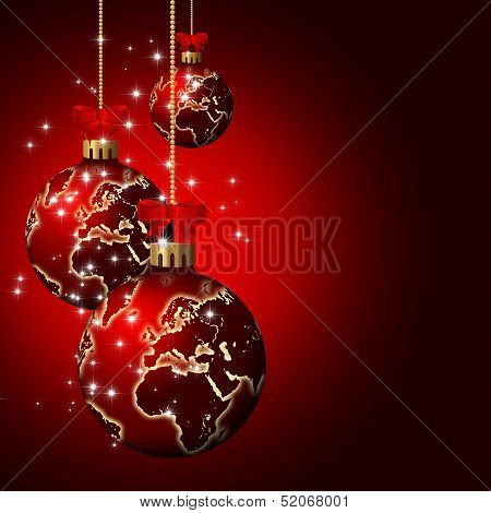 Christmas Glass Balls With World Pattern Over Dark  Background