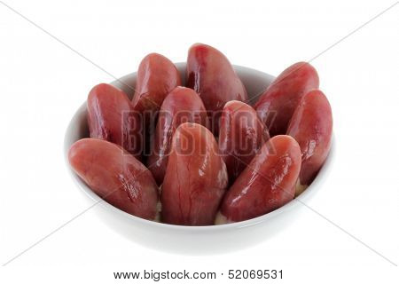 A bowl of Fresh Chicken Hearts isolated on a white background