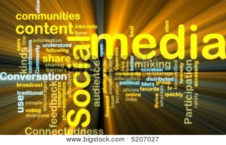 Social Media Wordcloud que brilla intensamente