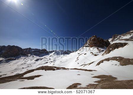 Snowy Plateau And Blue Sky With Sun