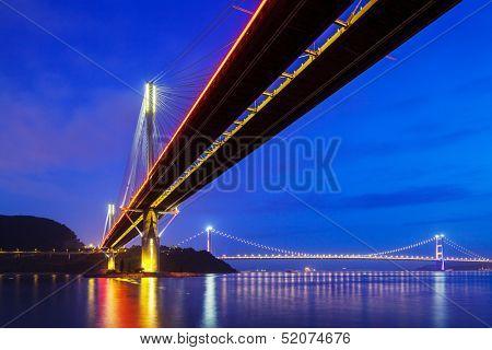 Suspension bridge in Hong Kong at night