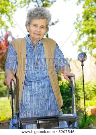 Senior Woman With A Walker
