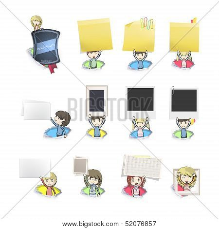 Group Of Kids Holding Cards Inside Holes. Vector Design