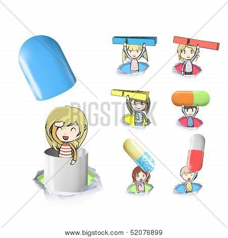 Groups of kids holding clothespin and pills. Vector design
