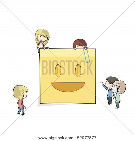 Kids Around Posit. Vector Design.