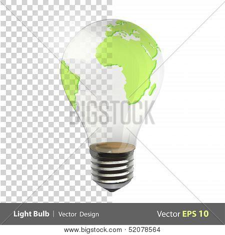 Eco Light Bulb With A World Inside. Vector Design.