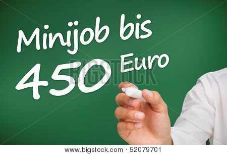 Hand writing with a white marker mini-job for 450 euro in german on green background
