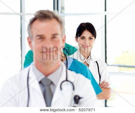 Smiling Doctor In A Row