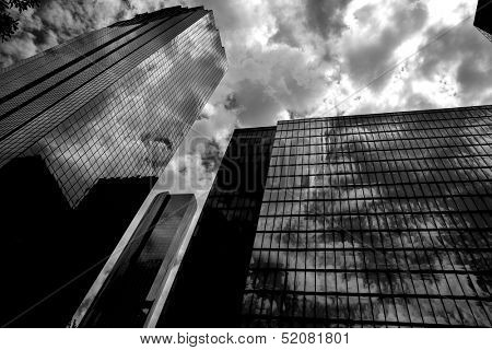 Black and white Houston Texas downtown mirror buildings detail