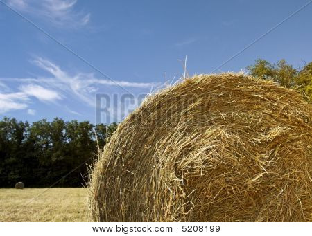 Hay Bale And Sky