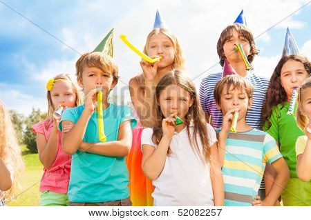Many Kids at Birthday Party