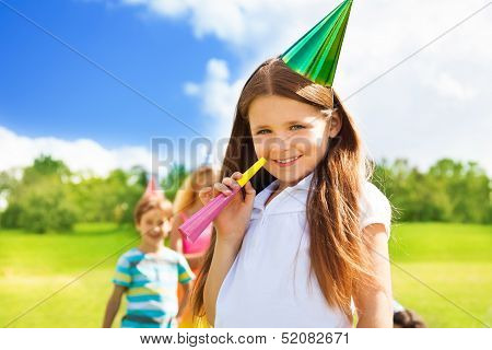 Happy Smiling Girl at Birthday Party