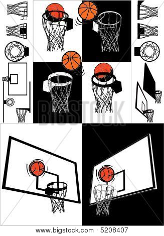 Basketball And Backboard Vector