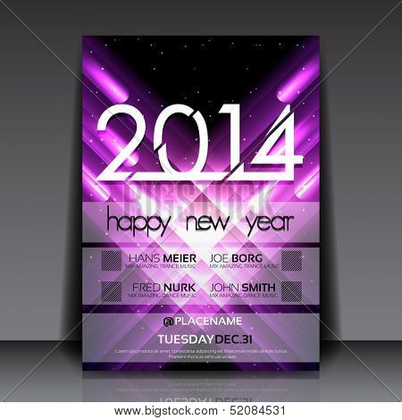 2014 New Year Vector Flyer Template