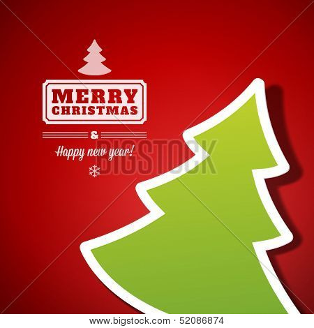 Christmas tree applique vector background. Christmas card or invitation.