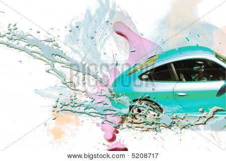 Coche deportivo de Color Celeste. Ilustración.