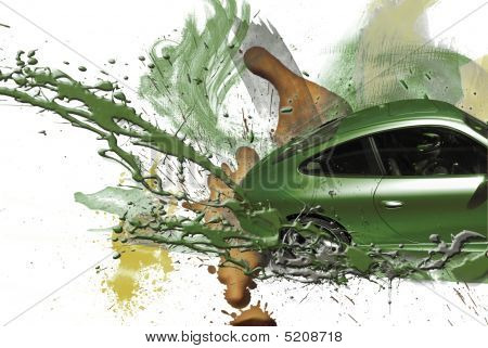 Sports Car Green Color And Illustration.