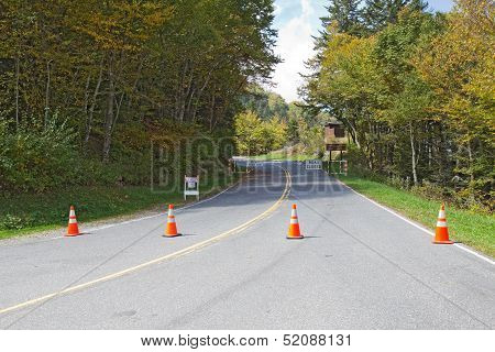 Barricades Block The Road To Clingmans Dome In Smoky Mountains Park