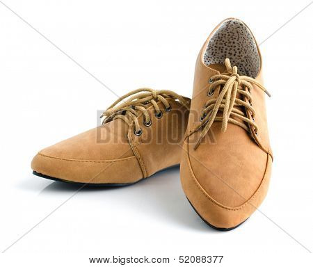 Casual brown leather lady shoes on white