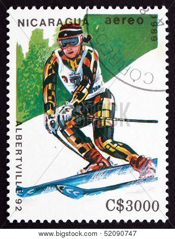 Postage Stamp Nicaragua 1989 Slalom Skiing, Olympic Games, Alber
