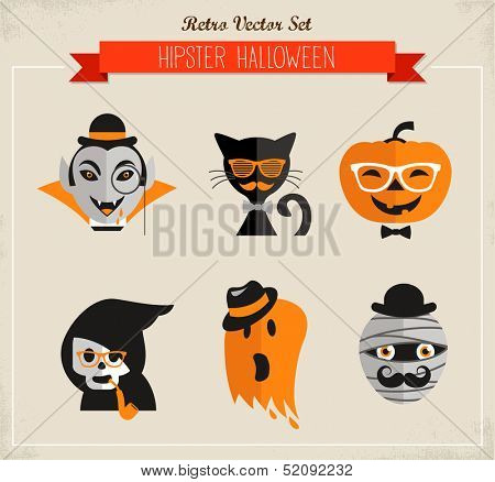 Happy Hipster Halloween set of icons and elements