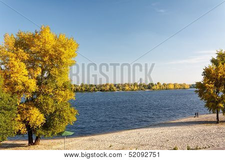 River Summer Landscape With Bright Blue Sky And Clouds.