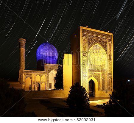 Gur e Amir - mausoleum of Tamerlane (Amir Timur) and his family at night. Samarkand, Uzbekistan
