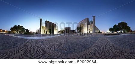 Panorama of Registan square with oriental buildings at twilight. Samarkand, Uzbekistan