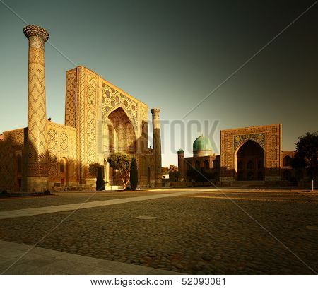 Registan square with oriental buildings. Samarkand, Uzbekistan