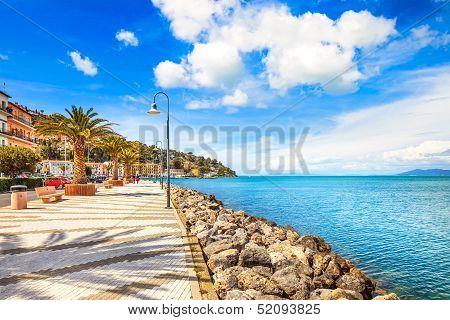 Promenade Seafront In Porto Santo Stefano, Argentario, Tuscany, Italy.