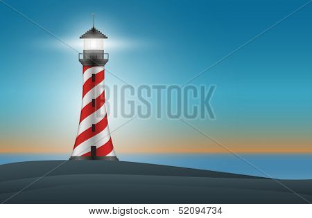 Vector lighthouse at night illustration. Elements are layered separately in vector file. Mesh used.